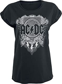 ACDC-Black Ice Music//Rock//Singer Cotton Shirt Round Neck Short Sleeve Shirts for Teen Boys and Girls Classic Fit Black