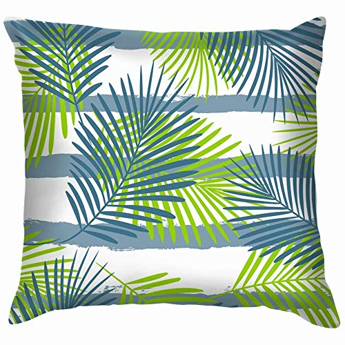 DJNGN Luxurious Throw Pillow Cover,Premium Square Pillow,Decorate Pillowcase,Sofa Cushion Case,Car Pillow Cushion Cover,Tropical Palm Tree Leaves Floral Beauty Fashion Funny