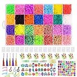 Ulikey Bänder Set, 10,000Pcs Regenbogen DIY Bands(28 Farben) Bänder Box, Gummiband Bastelset mit...