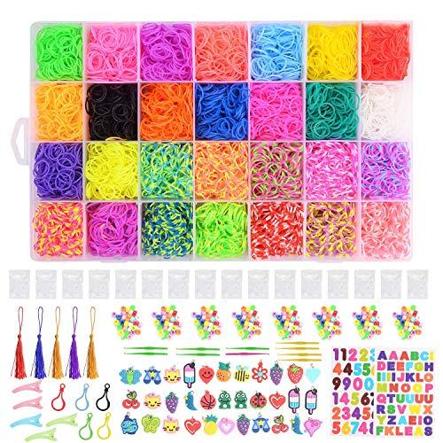 Ulikey 10000 DIY Bands, Caja Pulseras Gomas, Juego Creativo para Niños Caja Pulseras, Hacer Pulseras de Colores Bands Kit, 28 Colores