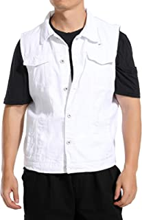 e64c57746d4 Hao Run Men White Ripped Denim Gilet Vest Sleeveless Jacket Waistcoat Top