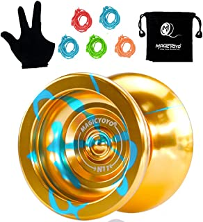 MAGICYOYO Professional Unresponsive Yoyo N11 Alloy Aluminum YoYo Ball New Designed(Black with Golden) with Bag, Glove and 5 Strings