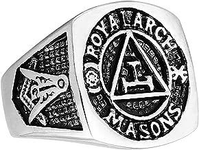 HZMAN Men's Stainless Steel Masonic Mark Master Mason Royal Arch Freemason Ring