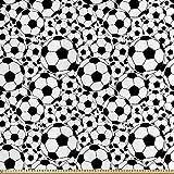 ABAKUHAUS Fußball Stoff als Meterware, Monochrom Fußbälle Grafik, Seidiger Satin Stoff für Polster Heimtextilien, 1M (148x100cm), Weiß Schwarz