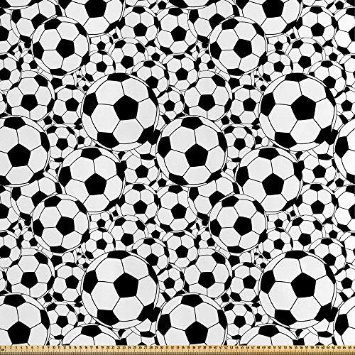 ABAKUHAUS Fútbol Tela por Metro, Bolas Monocromáticas Chicos, Satén para Textiles del Hogar y Manualidades, 1M (148x100cm), Blanco Negro