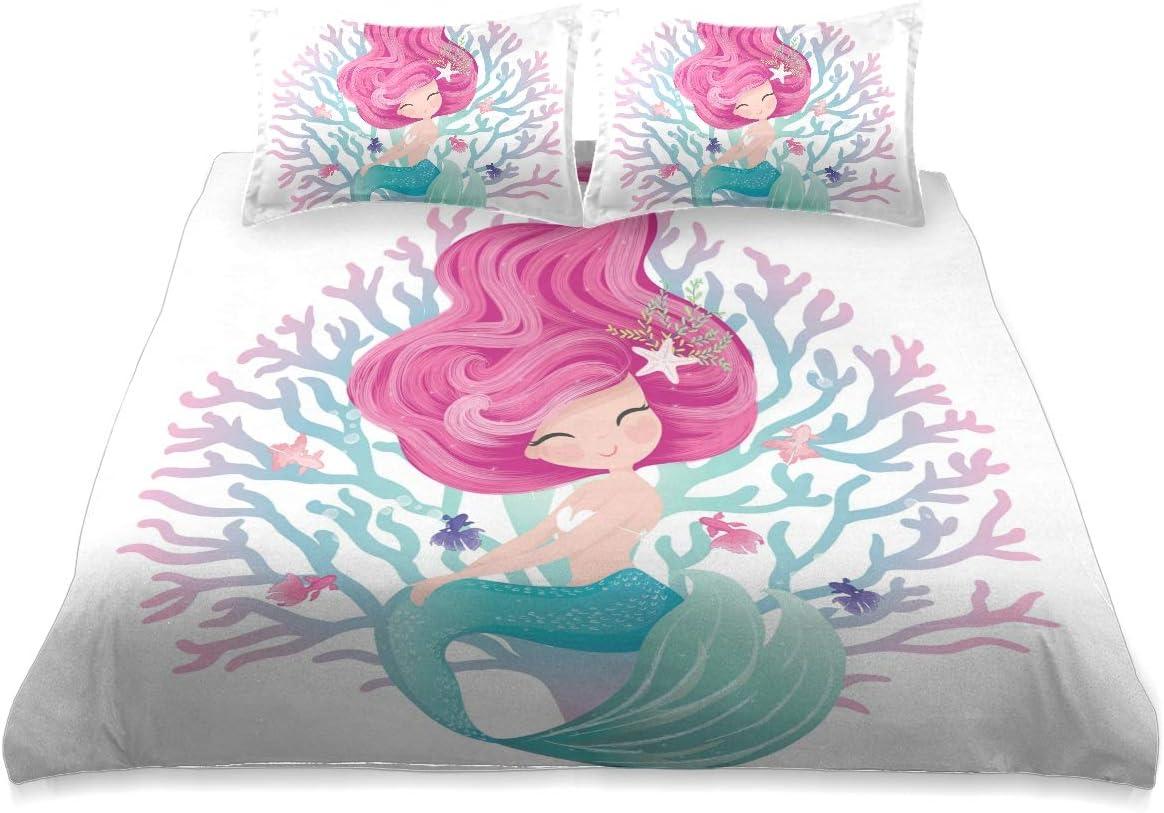 Cute Art Mermaid Comforter Set Queen Co Size タイムセール Cover 完売