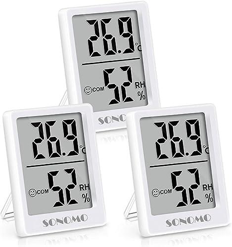 Sonomo Lot de 3 thermomètres-hygromètres, thermomètres intérieurs, thermomètres numériques pour l'intérieur, salon, c...