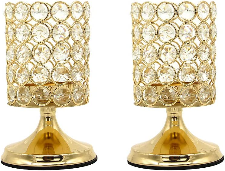 Vincidern Limited time sale Gold Crystal Candle Set Candlestic trend rank Holders Decorative