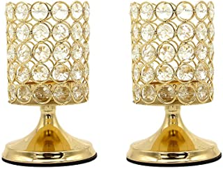 Vincidern 2 Pcs Gold Crystal Candle Holders Centerpiece, Pillar Candle Hurricane Candleholders, Table Decoration Candlestick Holder for Wedding Home Party