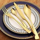 LEKOCH 4-pezzi posate in acciaio inox tra cui forchetta cucchiaio coltello posate Set per 1 (d'oro)
