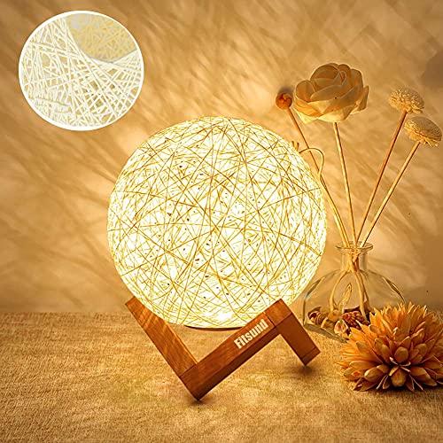 Fitlife Veilleuse LED, Lampe de Chevet, Lampe d'Ambiance de Chambre en Rotin et Bois, USB Rechargeable