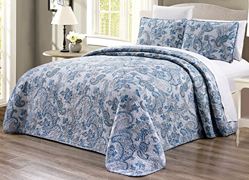 GrandLinen 3-Piece Fine Printed (90' X 88') Quilt Set Reversible Bedspread Coverlet (Double) Full Size Bed Cover (Grey, Black, White, Blue, Paisley)
