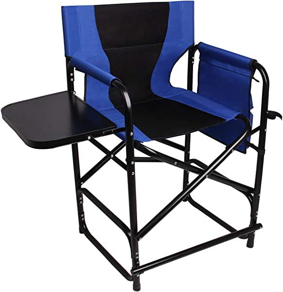 Tall Directors Chair Folding Camping Chairs 24 Seat Height Supports 300LBS Lightweight Portable Rocking Camping Chair With Side Table And Storage Bag Makeup Artist Collapsible Chair Director Chair