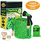 Suplong Water Hose Pipe Garden Hose Expandable 3 Times Expandable Hose 100ft Flexible Magic Hose Pipes Gardening With 8 Function Spray/Brass Connector Fittings/Storage Bag (100) (Green-100)
