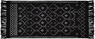 Boho Black and White Rugs, Runner Bath Rugs, Geometric Tribal Mats, 2' × 4.3' Cotton Woven Area Rug with Tassel for Kitche...