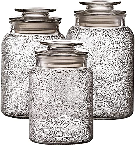3pc Glass Canisters Set for Kitchen Counter with Airtight Lids - Retro Design - Pantry Organization Food Storage Containers for Cookies, Tea, Sugar, Candy Jars, and More.