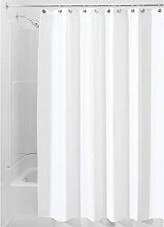 iDesign Fabric Long Shower, Modern Mildew-Resistant Bath Curtain Liner for Master, Kid's, Guest Bathroom, Standard, White ...