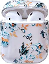 Ownest Compatible with AirPods Case with Girls Cute Clear Smooth PC Shockproof No Dust Cover Case for Apple Airpods 2 &1,Cute for Airpods-(Blue Flowers-3)