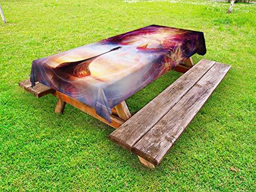 ABAKUHAUS Wikinger Outdoor-Tischdecke, Drachenkopf-Boot Violet, dekorative waschbare Picknick-Tischdecke, 145 x 265 cm, Mehrfarbig