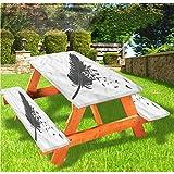 LEWIS FRANKLIN - Mantel ajustable para mesa de picnic y banco, con borde elástico y borde elástico, 28 x 72 pulgadas, juego de 3 piezas para mesa plegable