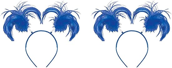 2 Pack of Feathers and Ponytails Headband Costume Party Headwear Accessory, Blue, Plastic, 5