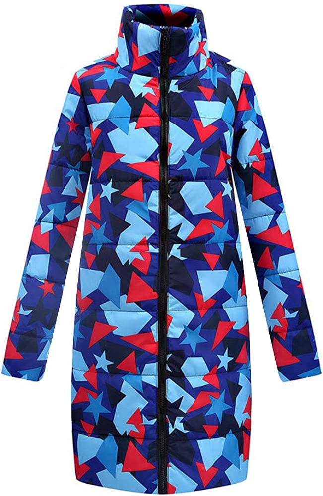 Eduavar Womens Warm Winter Puffer Coat Ladies Long Down Parka Hooded Coat Fashion Printed Zipper Quilted Jacket Outwear