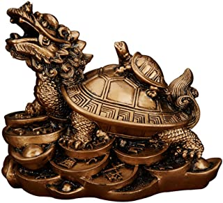 Feng Shui Resin Dragon Turtle Small Turtle Statue Home Decor Symbol Fertility Longevity(Bronze, M)