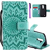 ISADENSER LG K7 Case LG Tribute 5 Case [Wallet Stand] as Gift With Shockproof Credit Card Holder Flip Magnetic Closure Protection New PU Leather Wallet Case Cover for LG Tribute 5 Green Sunflower