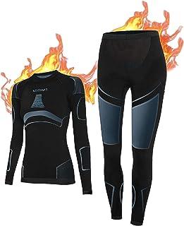 NOOYME Thermounterwäsche Damen Atmungsaktiv und Thermowäsche Set Funktionswäsche Damen Anti-bakteriell und Flexibel Skiunt...