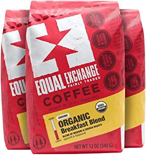 Equal Exchange Organic Ground Coffee, Breakfast Blend, 12-Ounce Bag (Pack of 3)
