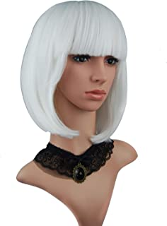 eNilecor Short Hair Wig 12'' Straight Bangs Short Bob Hair Candy Color Cosplay Synthetic Wigs Natural As Real Hair with Wig Cap (White)