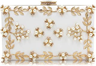 Mn&Sue Floral Pearl Beaded Evening Handbags Party Women Clutch Wedding Bridal Purse