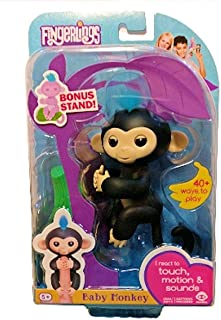 Fingerlings Pet Baby Monkey Toy Hanging On Finger Children Interactive Toy, Black