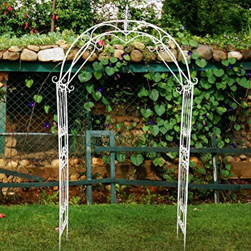 White Garden Arch, Decorative Metal Garden Arch, Strong Tubular Garden Arbour for Roses Climbing Plants Support, Pergola Archway, 121cmx35cmx240cm