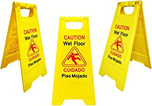 Office's Best 3 Pack Caution Bright Yellow Wet Floor Sign | 2-Sided Fold-Out Bilingual Warning to Avoid Slip & Fall Accident