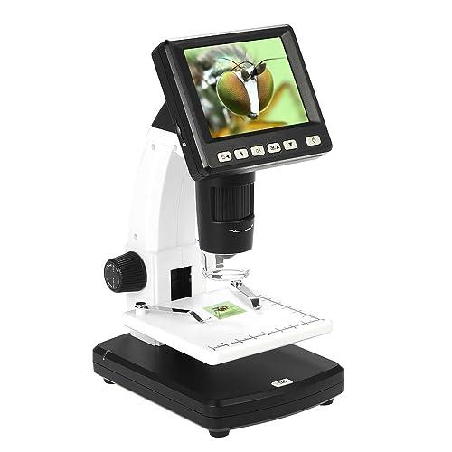 """KKmoon 10-300X hasta 1200X3.5""""LCD Microscopio Digital Profesional PortátilEstarSolo Escritorio Aumento 5M Resolución y MediciónTarjeta Almacenamiento"""