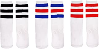 Zando Girls Knee Highs Socks Boys Cotton Soft Casual Triple Stripes Uniform Socks Children Cosplay Socks Athletic Tube Soc...