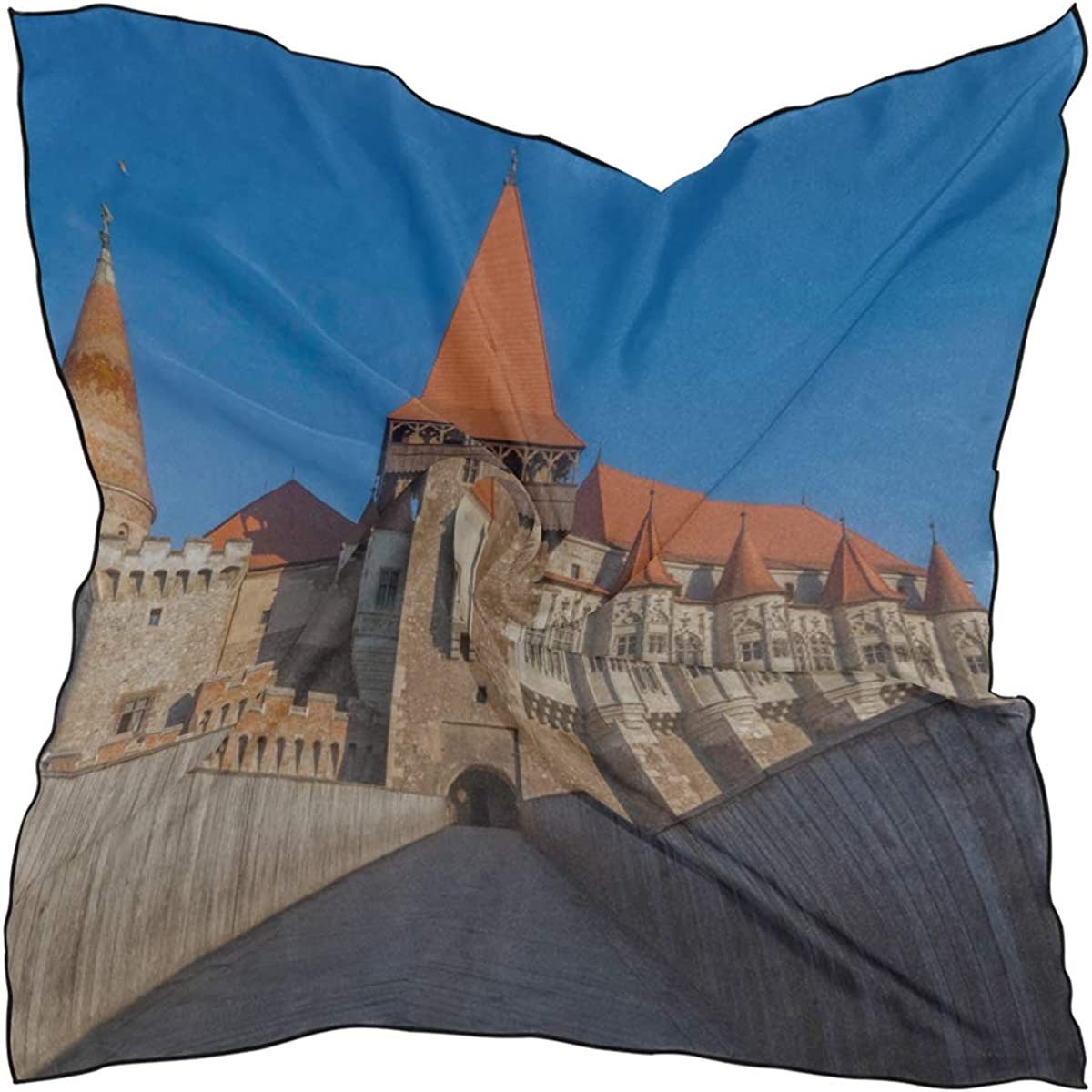 Soft Polyester Silk Scarf For Hair Fashion Print Great Gothic Architecture Church Womens Head Scarves Scarf Hair Tie Fashion Scarves For Women Multiple Ways Of Wearing Daily Decor