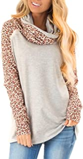 Women's Casual Sweatshirts Long Sleeve Leopard Print Tops Cowl Neck Raglan Shirts