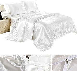 4717ad9512 Completo Lenzuola Federe Lenzuolo Copripiumino in Satin Raso Matrimoniale  una Piazza e Mezza Tinta Unita Bianco