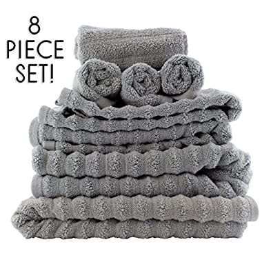 Darware 100% Cotton 8-Piece Bath Towel Set, Quick-Dry 510 GSM Zero-Twist (Gray)
