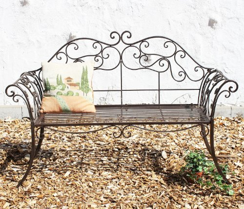 DanDiBo Gartenbank 111183 2 Braun Bank 146 cm aus Schmiedeeisen Metall Sitzbank Parkbank - 2