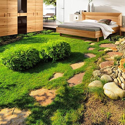 Custom 3D Floor Tiles Wallpaper Modern Green Plants Grass Photo Murales Sala de estar Baño Pvc Impermeable Desgaste Papel de pared para piso-300 * 210Cm3D Floor Vinyl Autoadhesivo, Impermeab