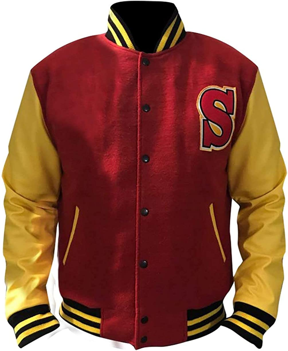 80s Windbreakers, Jackets, Coats | 90s Outerwear CHICAGO-FASHIONS Mens High School Bomber Varsity Jacket - Red & Yellow Letterman Wool Jacket  AT vintagedancer.com