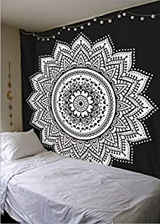 Ussuperstar Boho Psychedelic Elephant Tree of Life Floral Tapestry Hippy Mandala Gypsy Wall Hanging Sheet Coverlet Picnic Blanket Bedspread Curtain Decor Table Couch Cover Beach Yoga Throw L BLH