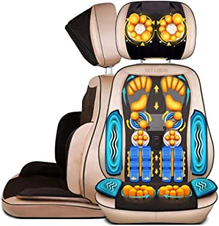 Masajeador Shiatsu Cojín de Asiento de amasamiento Profundo Diseño de Motor Dual con ajustes de Calor para masajeador de Espalda Completo y amasador para Uso en el Asiento de la Oficina en casa