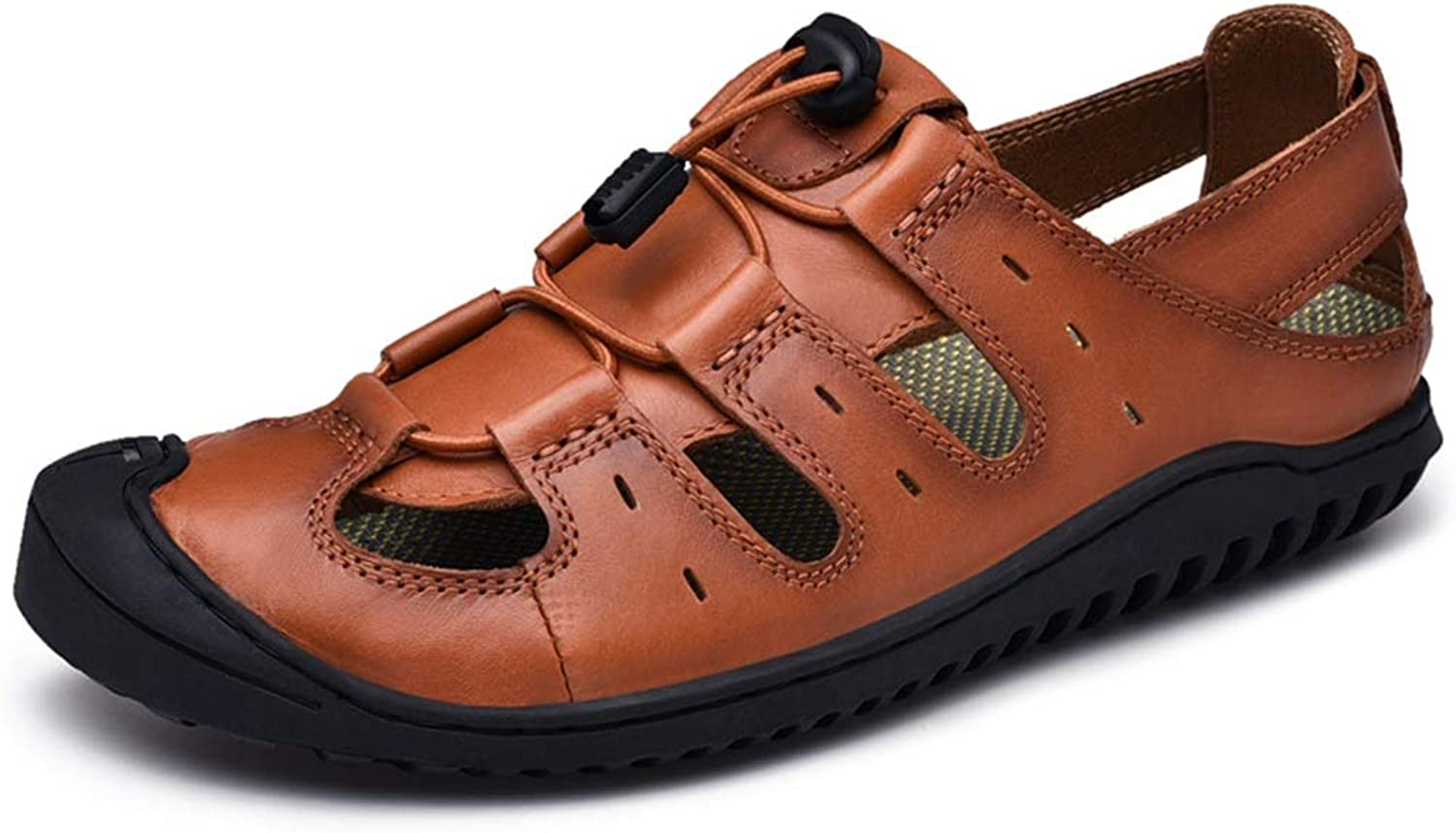 ChengxiO Outdoor Sandals Men's Summer First Layer Cowhide 2019 New Handmade Large Size Leather Casual shoes Men's Sandals Soft Cow Leather shoes (color   Brown, Size   255mm)