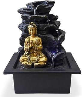Zen Light Shira Fontaine d'Intérieur avec Pompe et Eclairage LED, résine, Taille Unique
