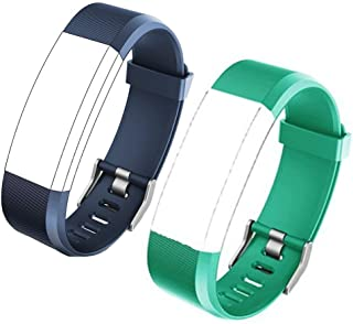 REDGO ID115plushr Replacement Band, Adjustable Replacement Soft TPU Straps for ID115HR Plus Fitness Tracker, Not for ID115U, ID115 U HR, ID115 HR, ID115, ID107, S2, (Blue + Green)