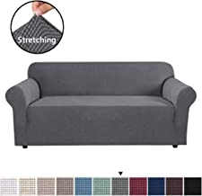 H.VERSAILTEX High Stretch Sofa Cover 1 Piece Couch Covers, Lounge Covers for 3 Cushion Couch, Sofa Slipcover for Living Room, Sofa Cover Stretch, Lycra Jacquard Sofa Slipcover 3 Cushion (Large: Gray)